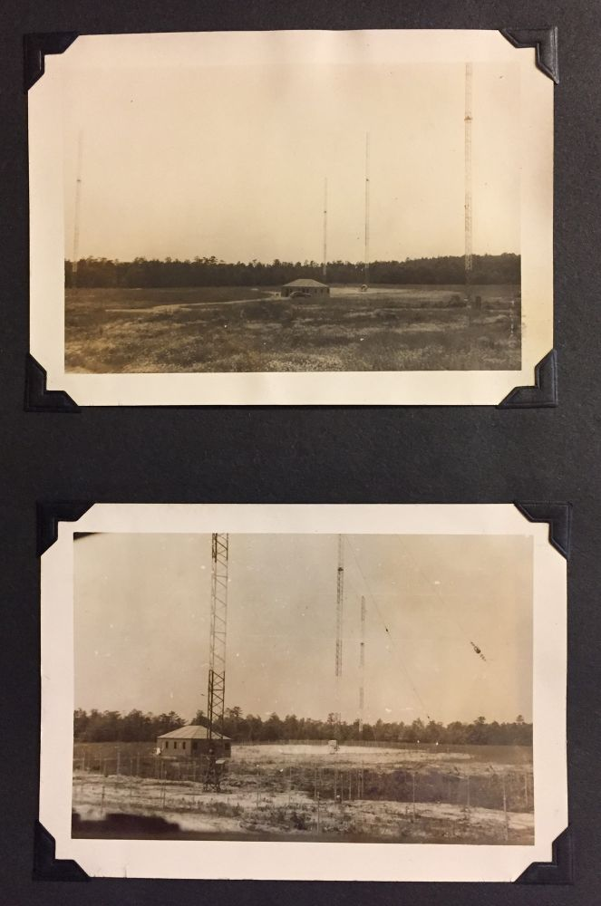 Photo album containing 82 mounted b/w photographs of 5 Radio Towers under construction. RADIO STATION, ENGINEERING, NEW JERSEY.