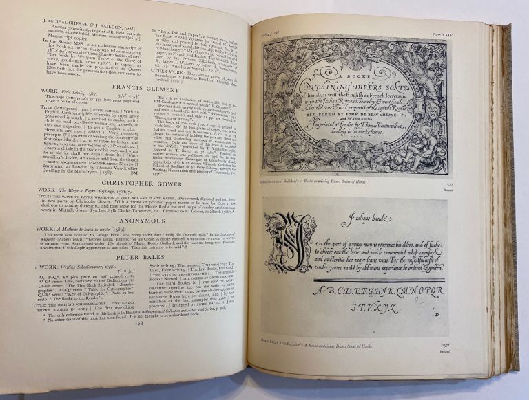 The English Writing-Masters and Their Copy-Books, 1570-1800. A Biographical Dictionary & A Bibliography. With an introduction to the development of handwriting by Stanley Morison. Ambrose Heal.