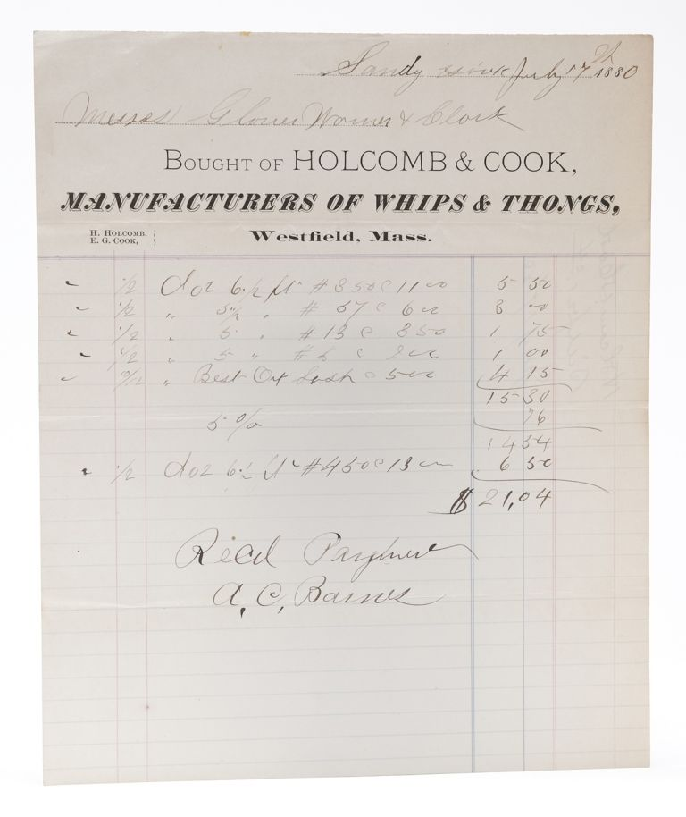 [EQUESTRIAN]. Bought of Holcomb & Cook, Manufacturers of Whips & Thongs [Billhead, accomplished in MS]. Holcomb, Manufacturers of Whips Cook, Thongs.
