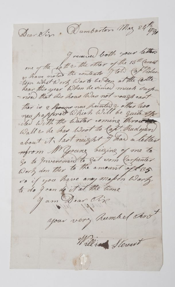 [Scotland]. Letter Signed, to John Adam, Esq. concerning repairs to Dumbarton Castle. William Steuart, Scotland of Dumbarton, or Stewart.