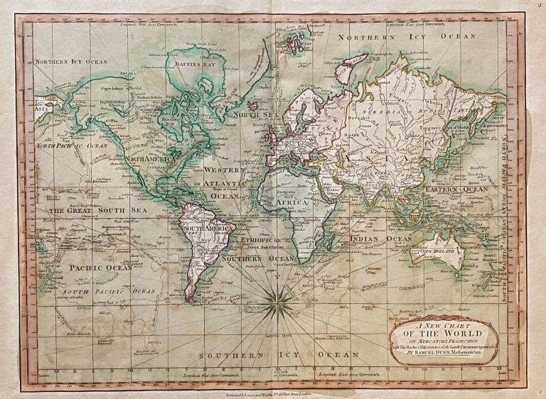 [WORLD MAP]. A New Chart of the World on Mercator's Projection with The Tracks & Discoveries of the Latest Circumnavigators &c. Samuel Dunn.