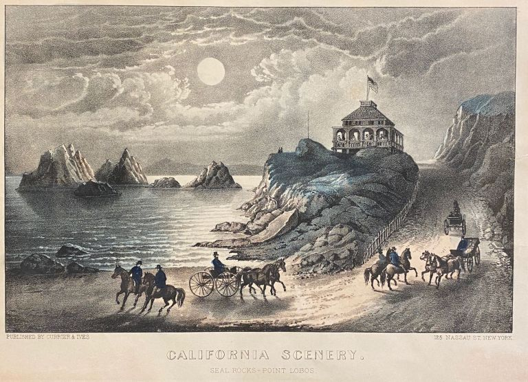 """California Scenery. Seal Rocks - Point Lobos"" Currier, Ives."