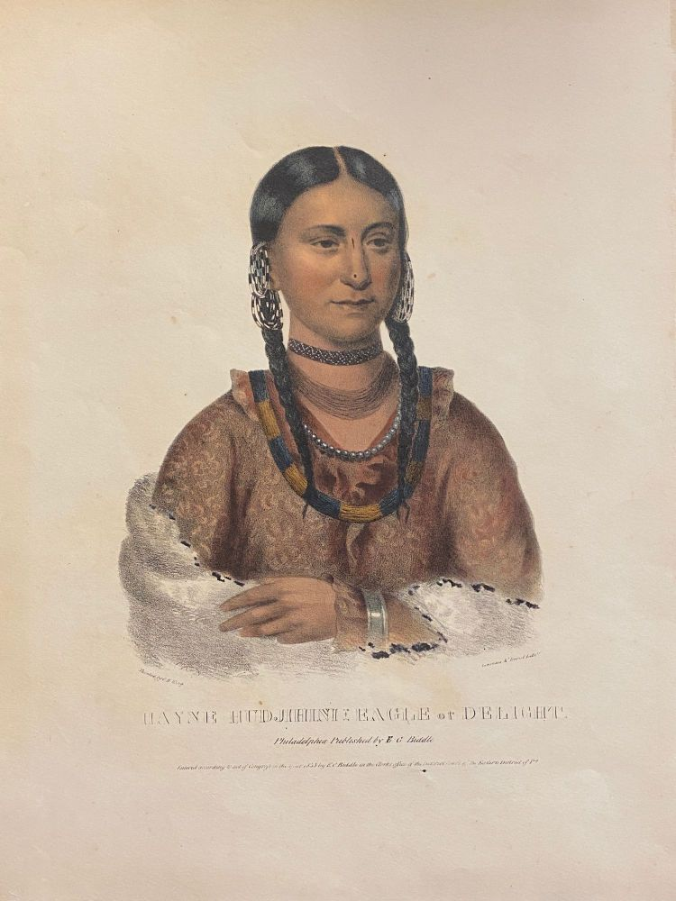 """[NATIVE AMERICAN PORTRAIT]. """"Hayne Hudjihini Eagle of Delight."""" Hand-colored lithograph from a folio edition of McKenney and Hall's Indian Tribes of North America. Charles Bird . Thomas L. McKenney KING, James Hall, artist."""