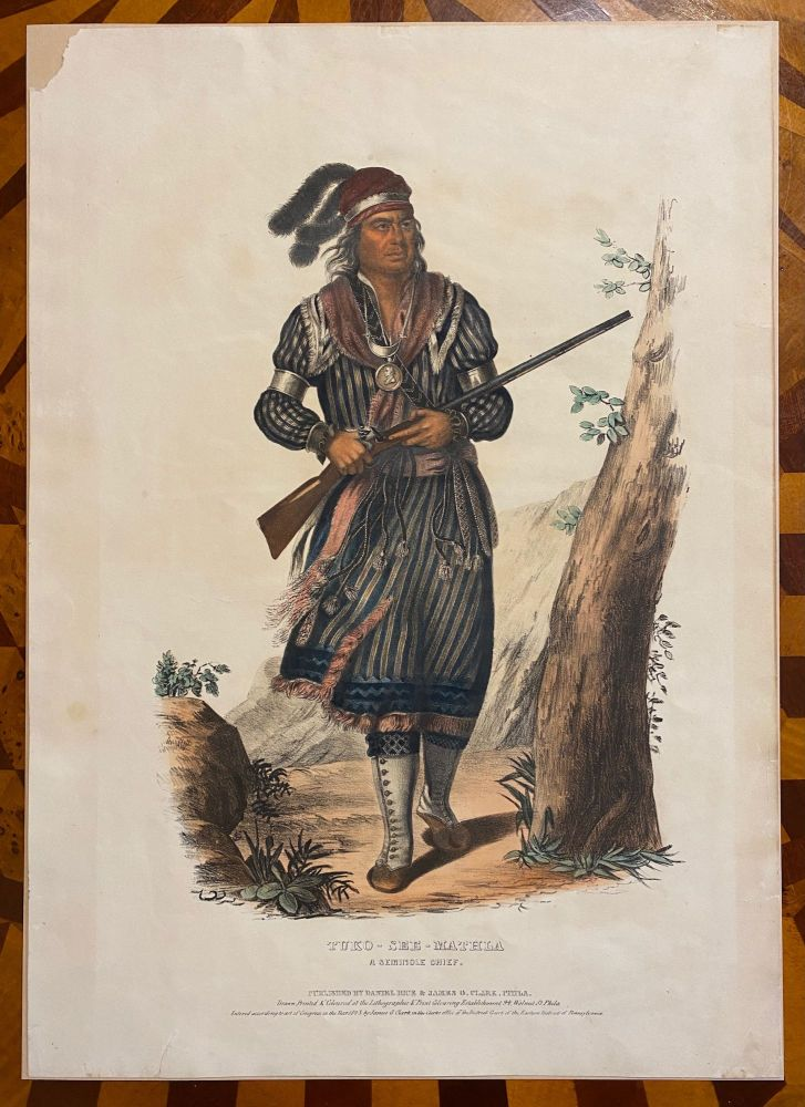 "[NATIVE AMERICAN PORTRAIT]. ""Tuko-See-Mathla A Seminole Chief."" Hand-colored lithograph from a folio edition of McKenney and Hall's Indian Tribes of North America. Charles Bird . Thomas L. McKenney KING, James Hall, artist."