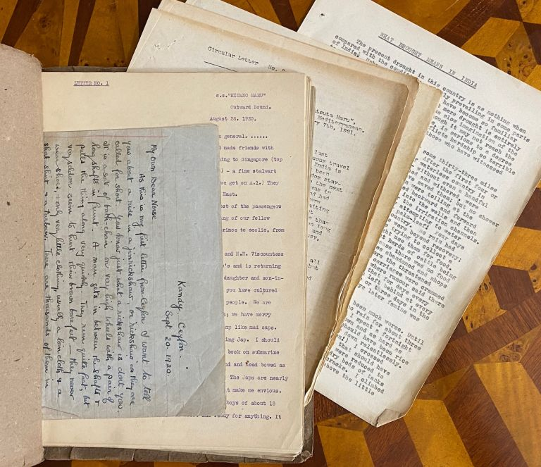 """[METHODIST MISSIONARY'S VOYAGE TO INDIA, TYPESCRIPTS 1920-1921]. """"Travel Letters August 1920 - January 1921. My own personal Private Copy"""" F. Deaville WALKER."""