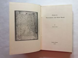 Essays on Manuscripts and Rare Books. Cora E. Lutz