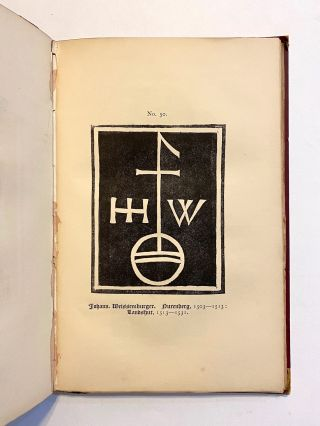 [INCUNABULA REFERENCE]. Early Dutch, German, and English Printers' Marks