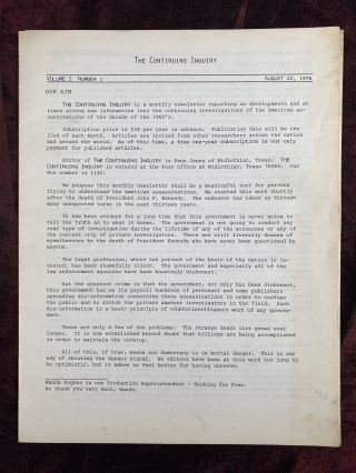 The Continuing Inquiry (newsletter re: JFK assassination) - VOL. 1, NO. 1. John F. Kennedy...