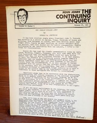The Continuing Inquiry (newsletter re: JFK assassination). John F. Kennedy Assassination, Penn...