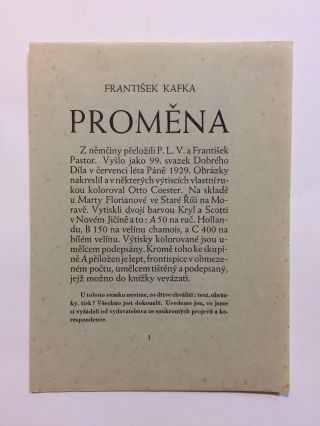 Promena [Metamorphosis - First Czech edition]. Together with: Promena, Sestero Konfigurací k Stejnojmenné Povídce Frant. Kafky [Metamorphosis, Six Illustrations of the Story of the Same Name by Franz Kafka - First Illustrated edition]