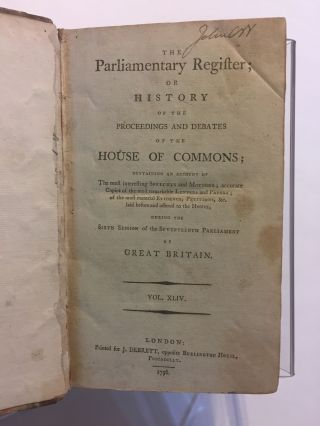 [DOG TAX, 1796]. The Parliamentary Register: Or, History of the Proceedings and Debates of the House of Commons [...] during the sixth session of the seventeenth parliament of Great Britain [Series 2, vol. XLIV]