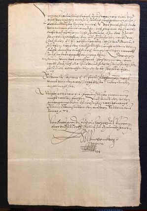 ST. BARTHOLOMEW'S DAY MASSACRE, 1572]. Autograph Letter Signed, being a contemporary account the...