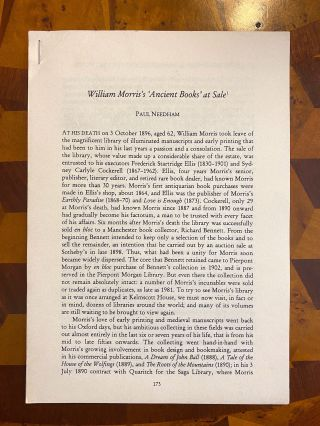 "INCUNABULA REFERENCE]. ""William Morris's 'Ancient Books' at Sale"" (offprint from: Under the..."