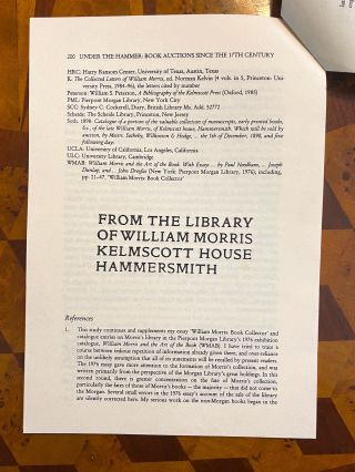"""[INCUNABULA REFERENCE]. """"William Morris's 'Ancient Books' at Sale"""" (offprint from: Under the Hammer: Book Auctions since the Seventeenth Century, ed. Robin Myers, Michael Harris, and Giles Mandelbrote)"""
