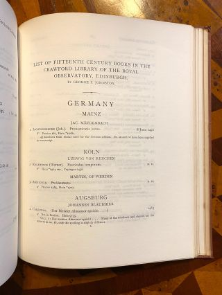 [INCUNABULA REFERENCE]. Lists of Fifteenth Century Books in Edinburgh Libraries