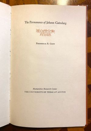 INCUNABULA REFERENCE]. The Permanence of Johann Gutenberg. Frederick R. Goff