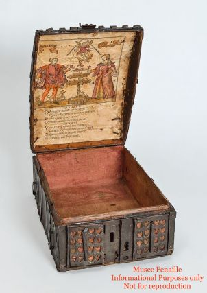 """French Gothic """"Coffret à estampe"""" with Woodcut illustrating Courtly Love in situ"""
