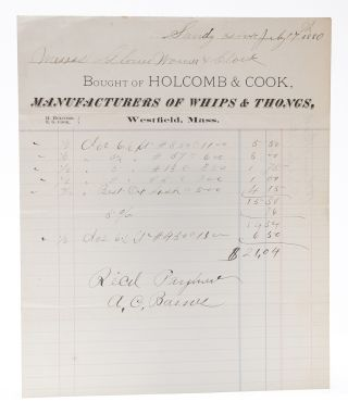 EQUESTRIAN]. Bought of Holcomb & Cook, Manufacturers of Whips & Thongs [Billhead, accomplished in...