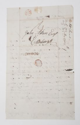 [Scotland]. Letter Signed, to John Adam, Esq. concerning repairs to Dumbarton Castle