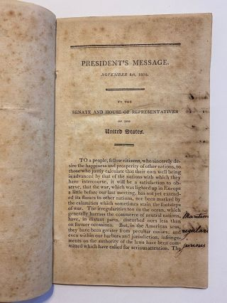 [EARLY WORK ON MISSOURI & MINING IN THE WEST]. Message of the President of the United States to Both Houses of Congress. 8th November, 1804. Read, and Ordered to be Referred to the Committee of the Whole House on the State of the Union