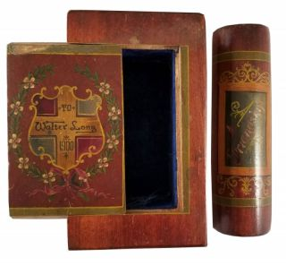 """[""""BLOOK"""" / AMERICAN FOLK ART]. Hand-hewn, hand-painted wooden Blook with """"secret compartment"""""""