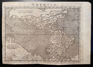 "AMERICA. Engraved map ca. 1600, North and South America with portion of Australia]. ""America""..."