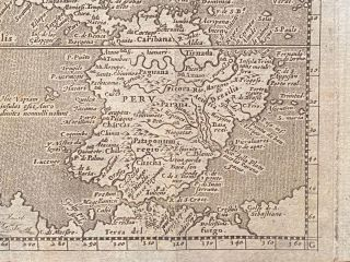 """[AMERICA. Engraved map ca. 1600, North and South America with portion of Australia]. """"America"""""""