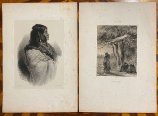 "[TWO ORIGINAL LITHOGRAPHS OF NATIVE AMERICANS]: ""Tombeaux des indiens sioux"" together with ""Chef Indien"" (title in pencil)"