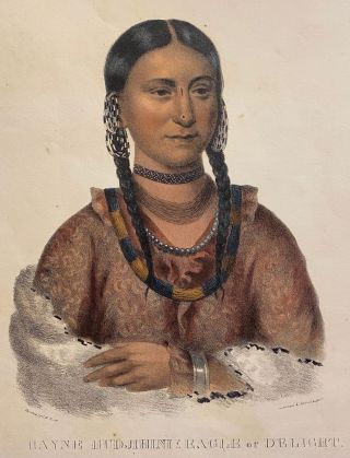 """[NATIVE AMERICAN PORTRAIT]. """"Hayne Hudjihini Eagle of Delight."""" Hand-colored lithograph from a folio edition of McKenney and Hall's Indian Tribes of North America"""