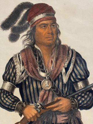 "[NATIVE AMERICAN PORTRAIT]. ""Tuko-See-Mathla A Seminole Chief."" Hand-colored lithograph from a folio edition of McKenney and Hall's Indian Tribes of North America"