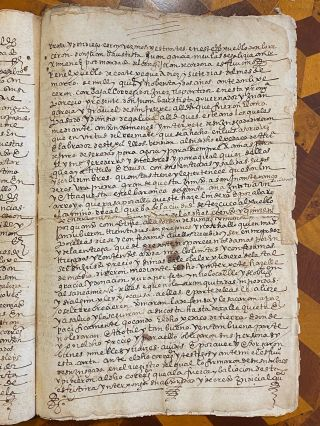 """[1592 MANUSCRIPT: AUCTION OF QUICHE MAYA LANDS IN GUATEMALA]. Testimonio del titulo venta... [""""Witness of the Title of Sale, granted by the inhabitants of Coatepeque of several portions of land in the place called Tianguistengo, toLic. Luis Osoria for the price of 1155""""]"""