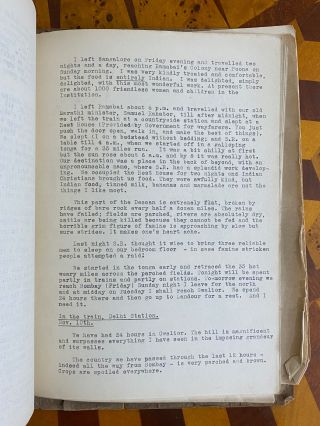 """[METHODIST MISSIONARY'S VOYAGE TO INDIA, TYPESCRIPTS 1920-1921]. """"Travel Letters August 1920 - January 1921. My own personal Private Copy"""""""