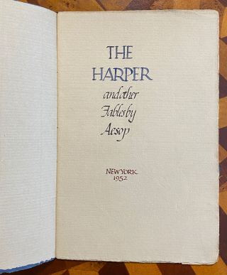 [CALLIGRAPHIC MANUSCRIPT]: The Harper and Other Fables. By Aesop