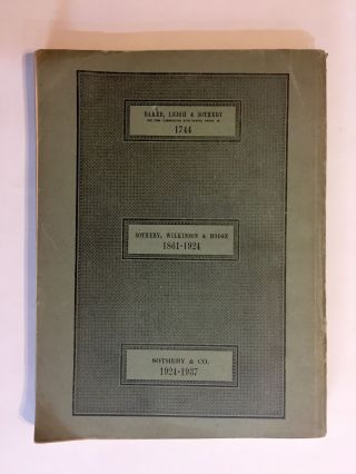 CATALOGUE OF THE VERY WELL-KNOWN AND VALUABLE LIBRARY, THE PROPERTY OF LT.- COL. W.G. MOSS. March 2-9, 1937