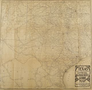 TEXANA]. The Texas and Oklahoma Official Railway & Hotel Guide Map, WITH THE RARE BOOKLET....